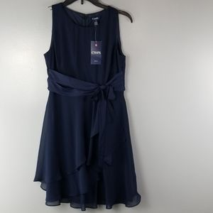 NWT CHAPS Ruffle Blue Tie front dress size 6P